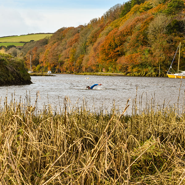 Man swimming in Avon Estuary
