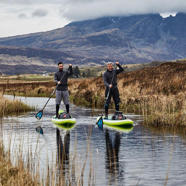 Men Paddleboarding in the mountains wearing Red Original Men's Performance Top Layer - Grey