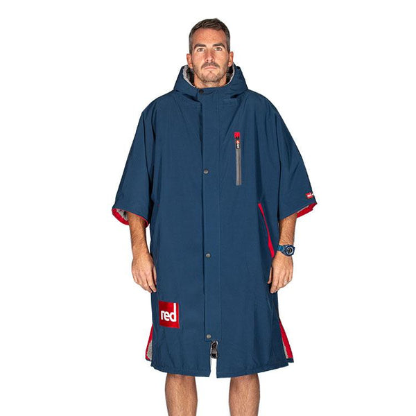 Men's Short-Sleeve Pro Change Robe - Navy with Grey Lining
