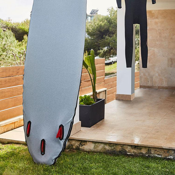 Red Original Protective SUP Board Cover on paddleboard in garden