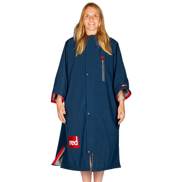 Women's Short-Sleeve Pro Change Robe - Navy with Grey Lining