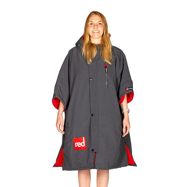 Women's Short-Sleeve Pro Change Robe - Grey with Red Lining
