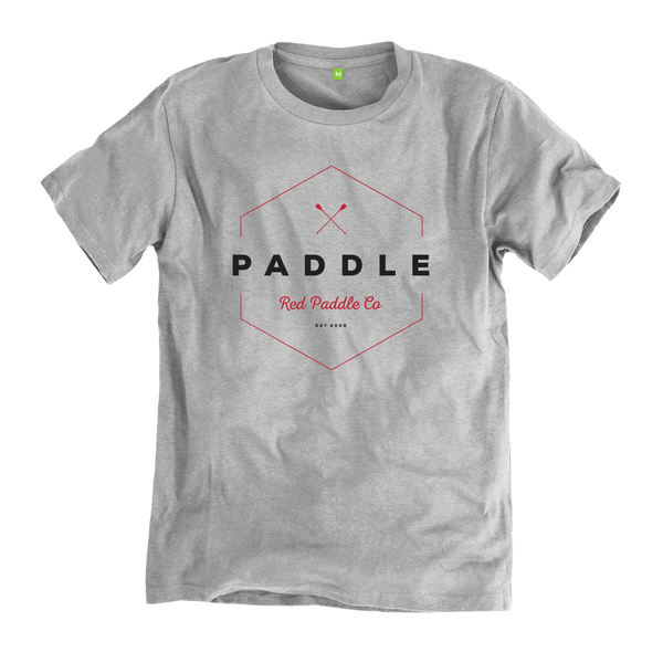 Flat studio image of a Red Original Paddle On grey t-shirt