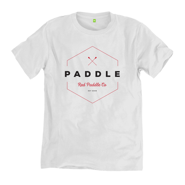 flat studio image of the Red Original Paddle On t-shirt in white