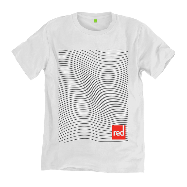 Flat studio shot of the Red Original Swell Lines t-shirt