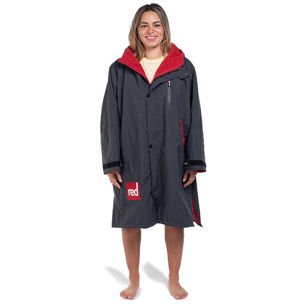 Women's Long Sleeve Pro Change Robe - Grey with Red Lining
