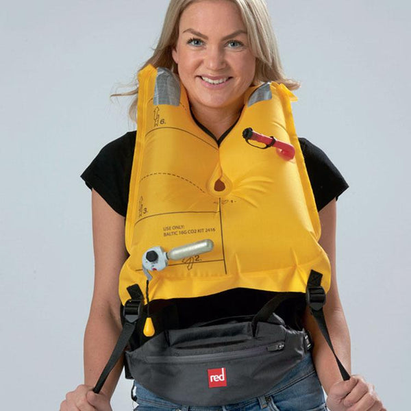 Red Original Airbelt PFD Inflated and being worn