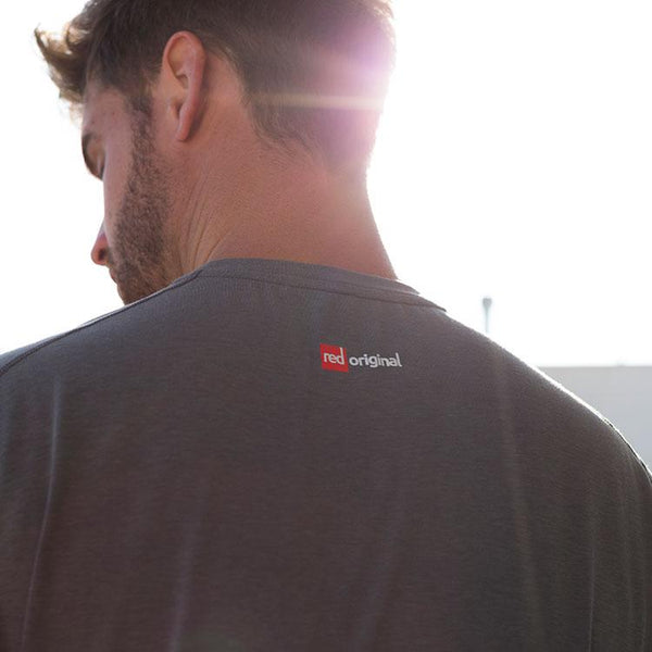 Rear logo detail on the Red Original Mens Performance T Shirt