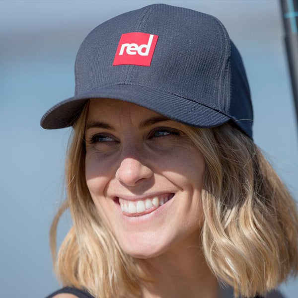 Woman wearing Navy Red Original Paddle Cap