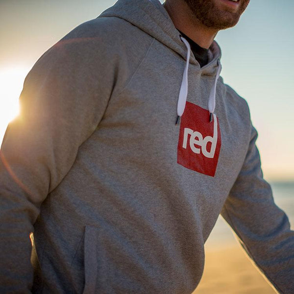 Close up of the Red Original Square Logo Hoodie