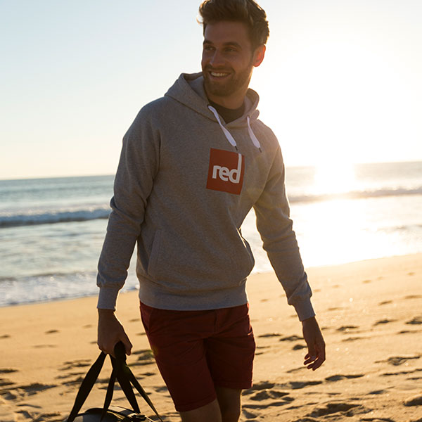 Man Wearing Grey Red Original Square Hoodie