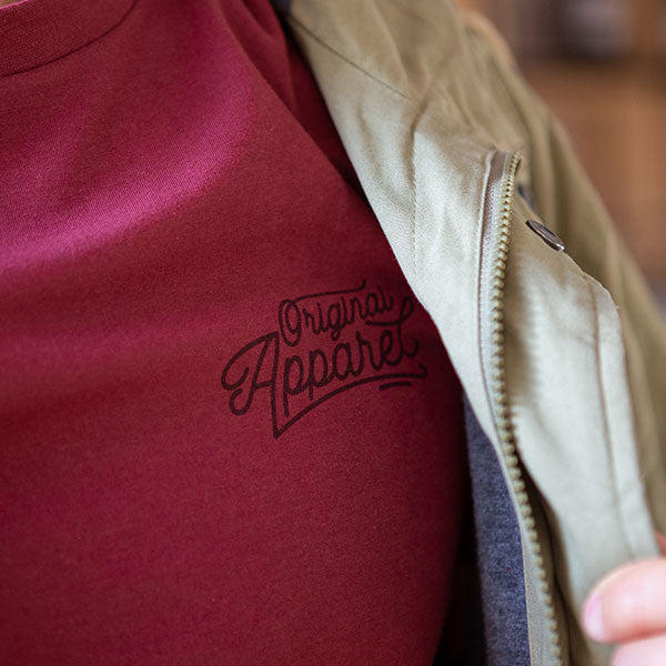 Original apparel detailing on the front chest for a casual look.