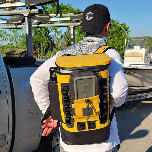 Mustard Cooler Backpack with Waterproof Pouch in back pocket