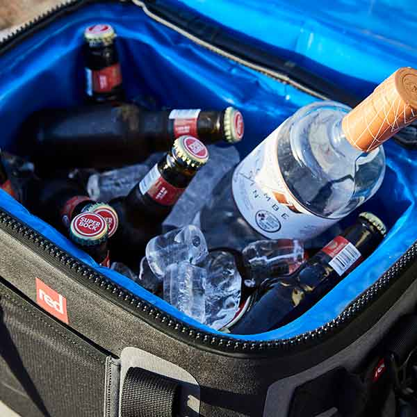 Salcombe Gin And Beers In A Red Original Waterproof Cooler Bag