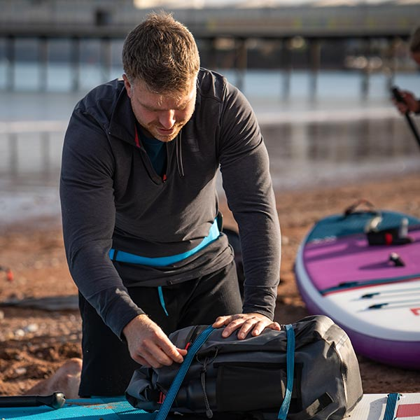 30-Litre Waterproof bag strapped to an inflatable paddle board