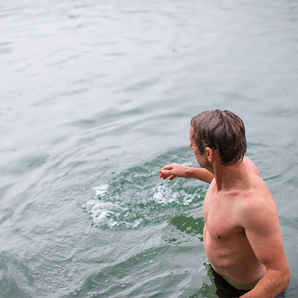A Man Cold Water Swimming