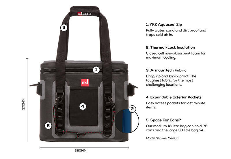 An annotated view of the Red Original Waterproof Cooler Bag