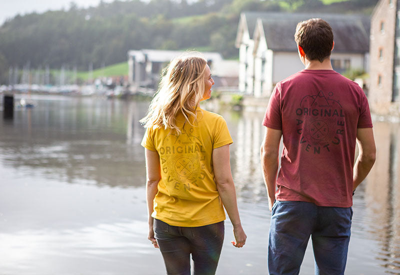 Woman Wearing Mustard Yellow Red Original Adventure Womens T-Shirt looking at river