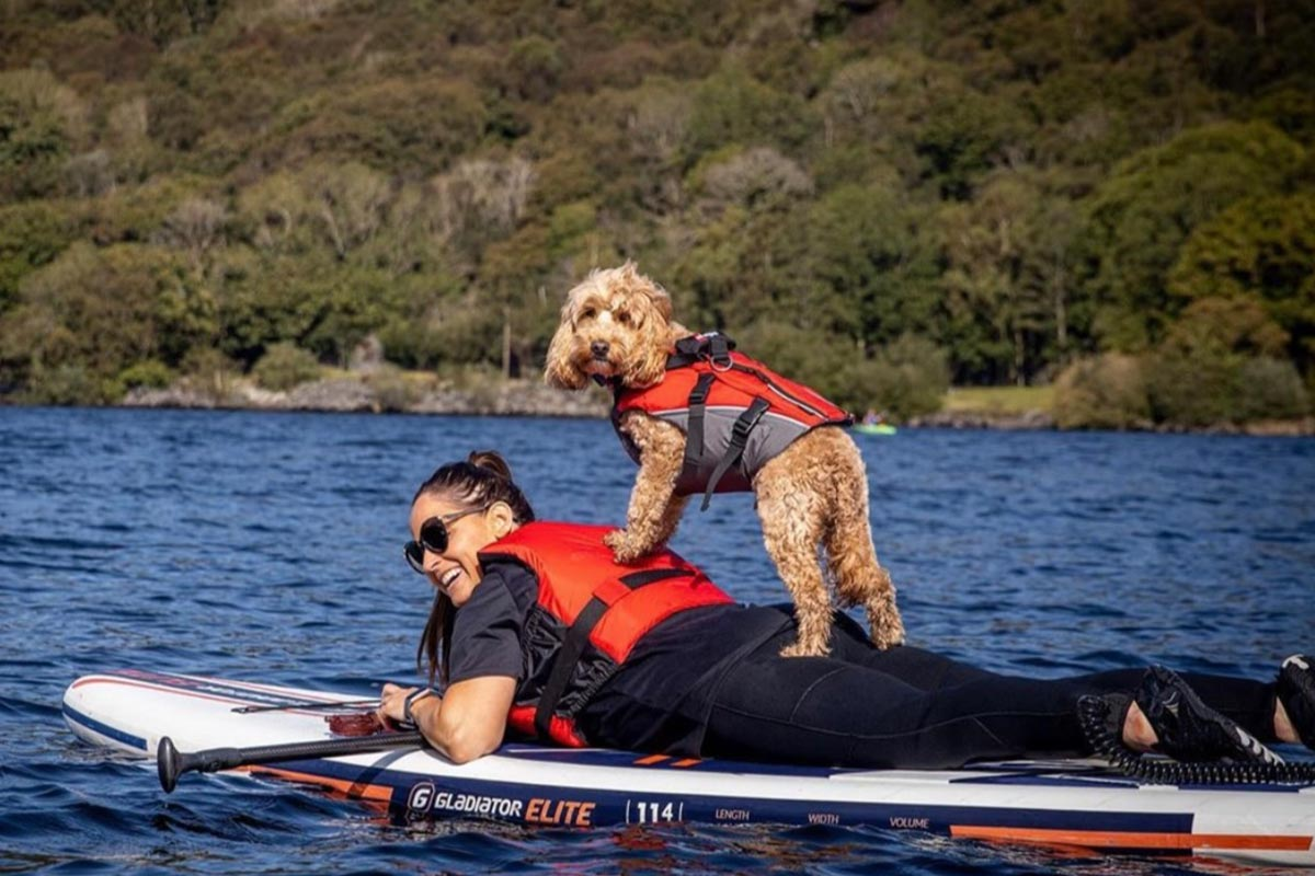 Reggie And His 'Mum' On A Paddle Board