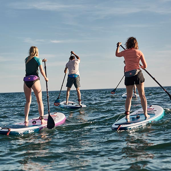 4 People Paddle Boarding into the sea