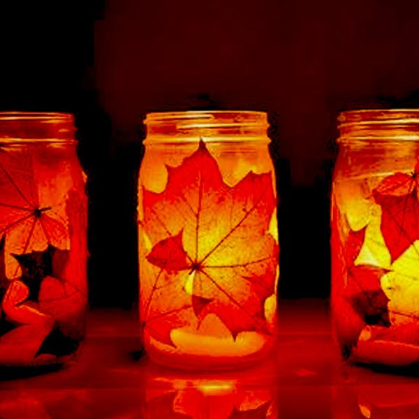 Autumnal leaves in a jar