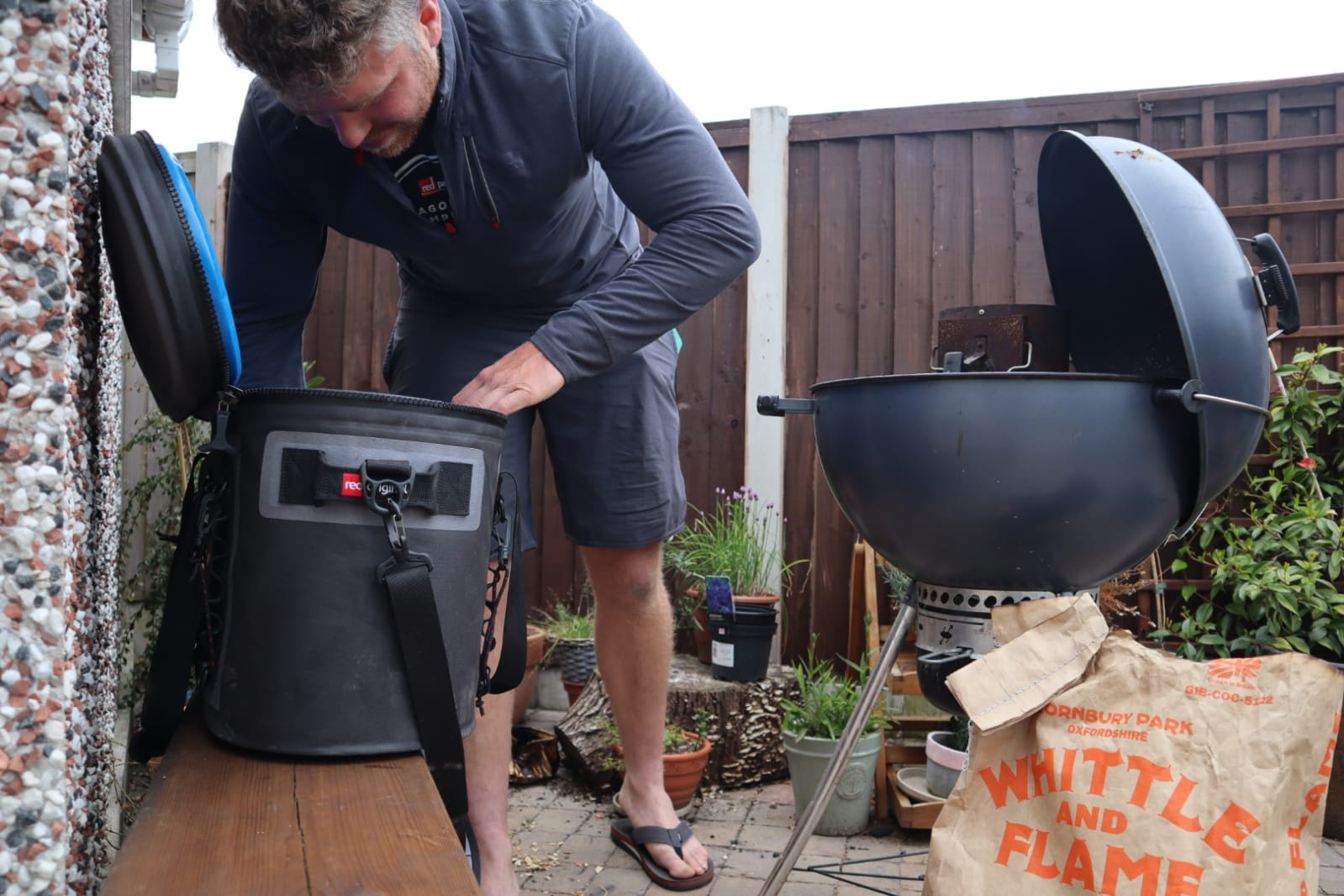 Ross BBQing in the garden