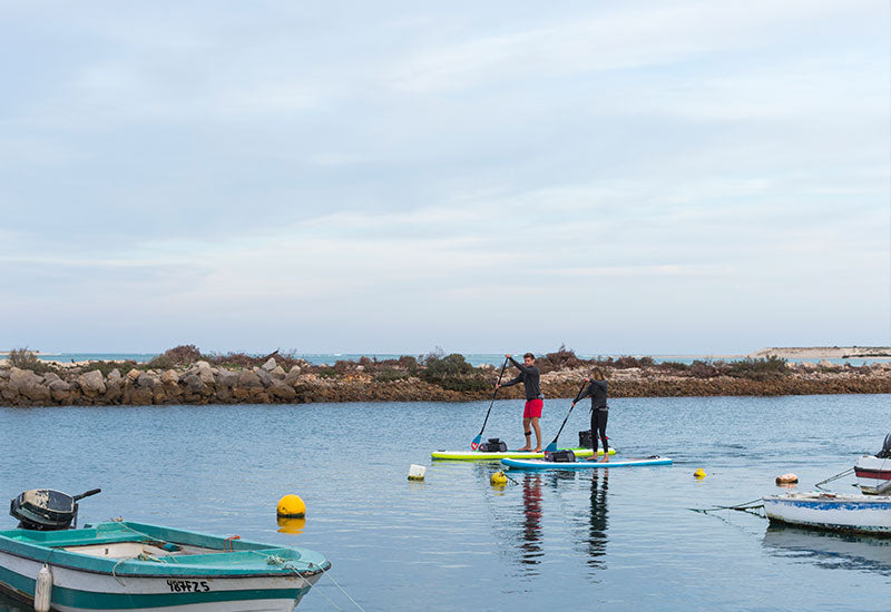 two people paddle boarding at sea