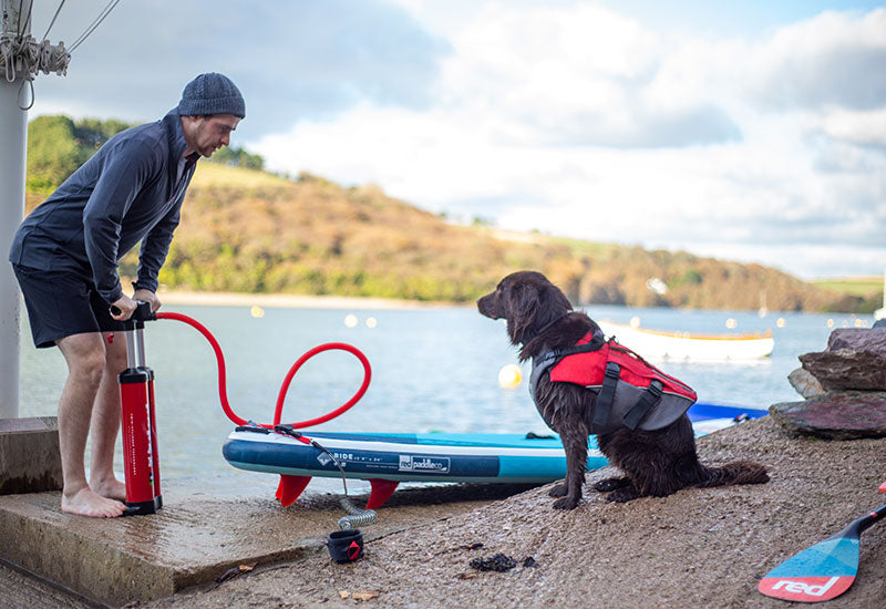 Man pumping up a board whilst a dog wears the Red Original Dog Buoyancy Aid