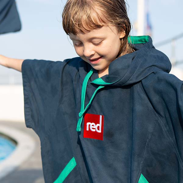 Girl Wearing Red Original Microfibre Changing Robe For Kids in Navy