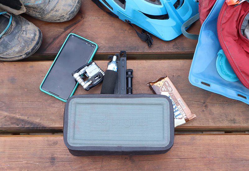 Bike contents that can fit in the Red Original Waterproof Pouch