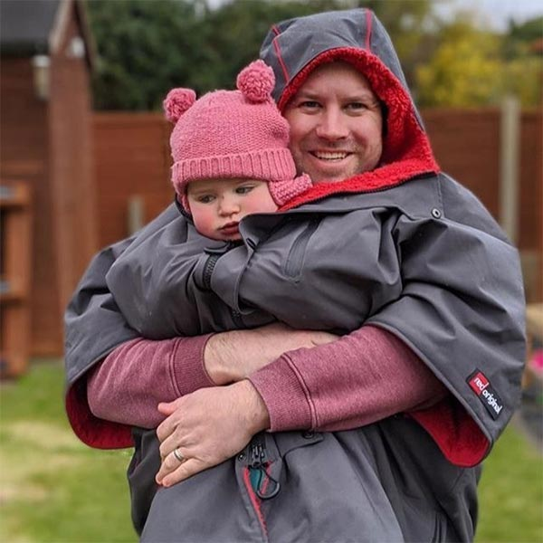 Man and Baby In a Red Original waterproof changing robe