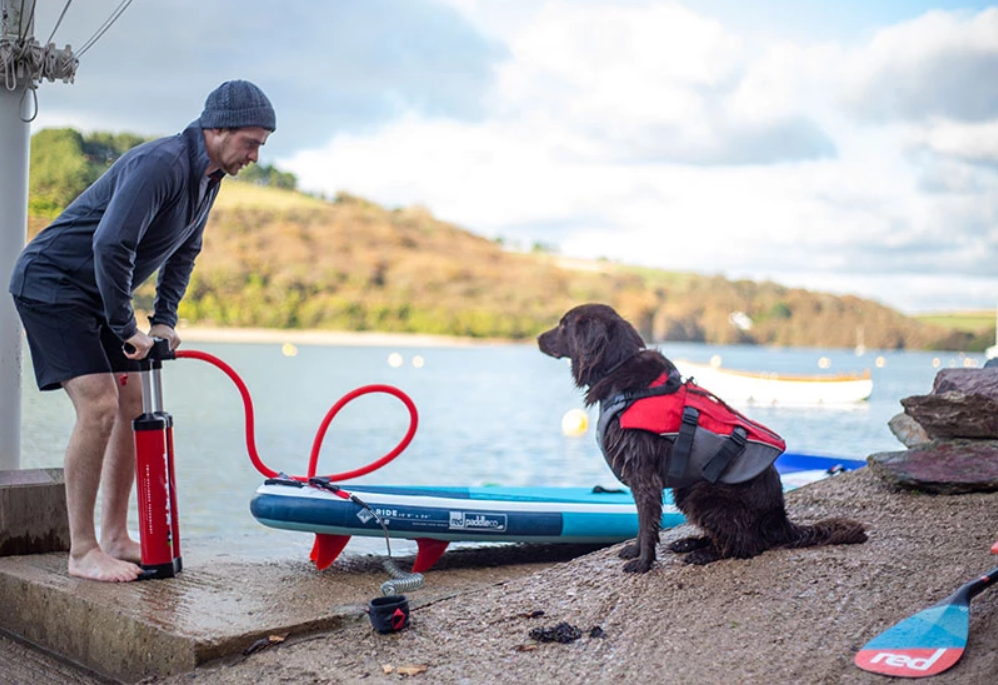 Inflating A Paddle Board With Bear The Dog Watching