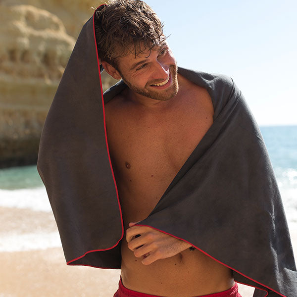 Man drying himself with Micro Fibre Towel