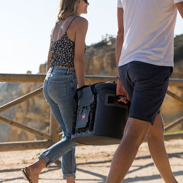 Male and female carry cool bag