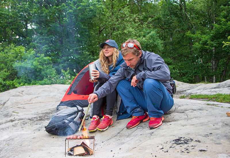 Couple camping wearing Red Original Active Jacket