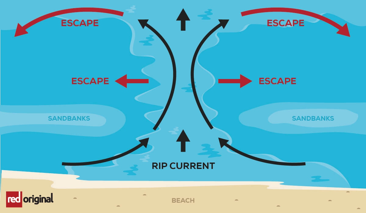 A visual explanation of how to escape a rip current