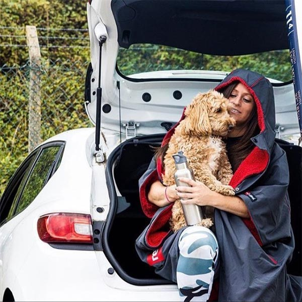 Reggie The Cockapoo Sat With His Owner On The Back Of A White Car