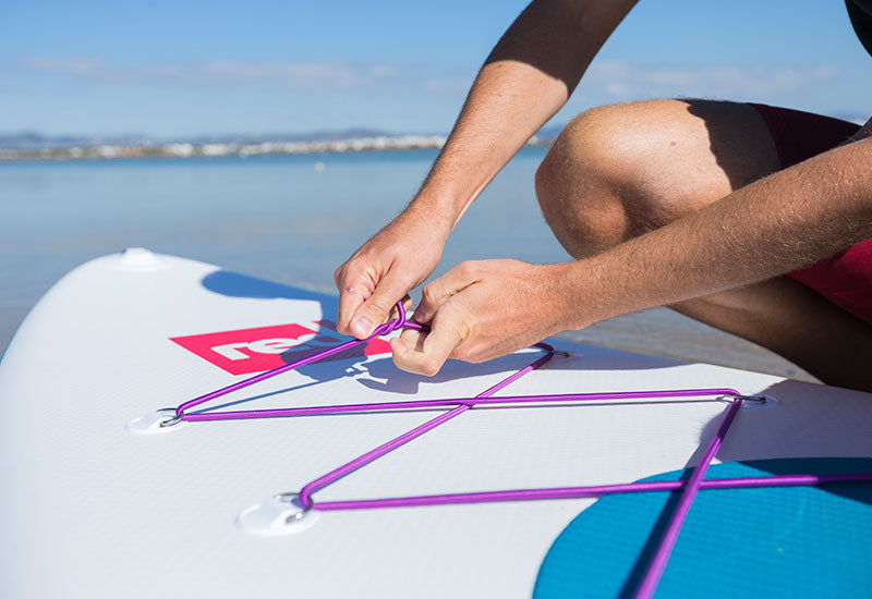 tying off the Red Original Purple Cargo Bungee