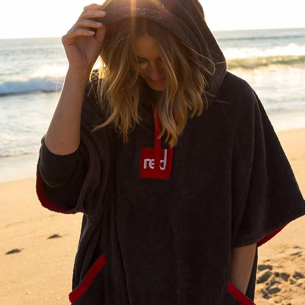 Woman On The Beach In A Red Original Towelling Robe