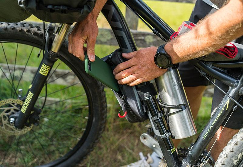 Waterproof Pouch and Insulated Bottle on a bike
