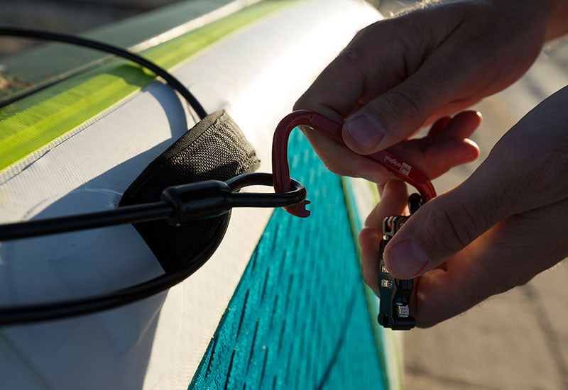 Locking a sup board using a Red Original board lock