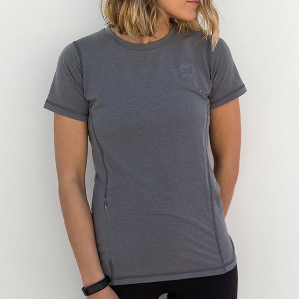 Woman Wearing Short-Sleeved Performance T-shirt