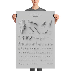 Hundred Largest Islands of the World (grey, poster)