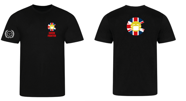 Covid Fighter T shirt - Black - full colour logo Serve On