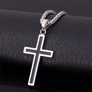 BLACK ENAMEL CROSS NECKLACE