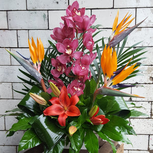 tropical flower basket, birds of paradise, orchids