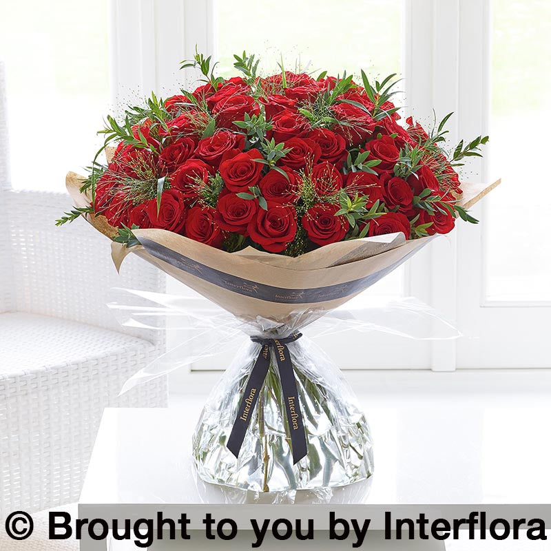 Unforgettable 50 Red Rose Hand Tied