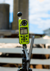 Kestrel 5400AG Cattle Heat Stress Tracker with LiNK + Vane Mount + Large Tripod in use