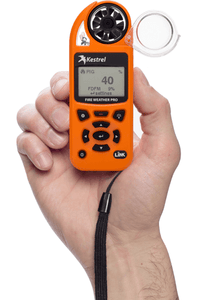 Kestrel 5500FW Fire Weather Meter Pro in hand