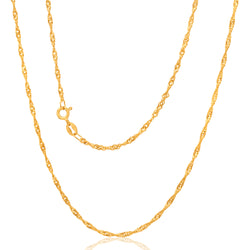 9ct Yellow Gold Singapore Twist Chain - 30 Gauge